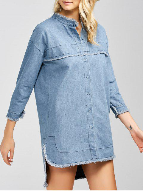trendy High-Low Denim Dress - LIGHT BLUE XL Mobile