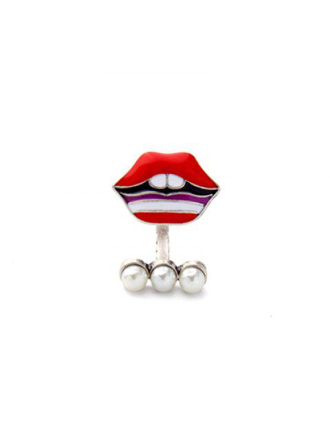 unique Lip Fake Pearl Cuff Ring - RED  Mobile