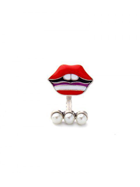 unique Lip Fake Pearl Cuff Ring - RED  Mobile