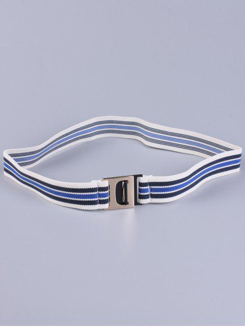 hot Striped Elastic Wide Belt - BLUE  Mobile