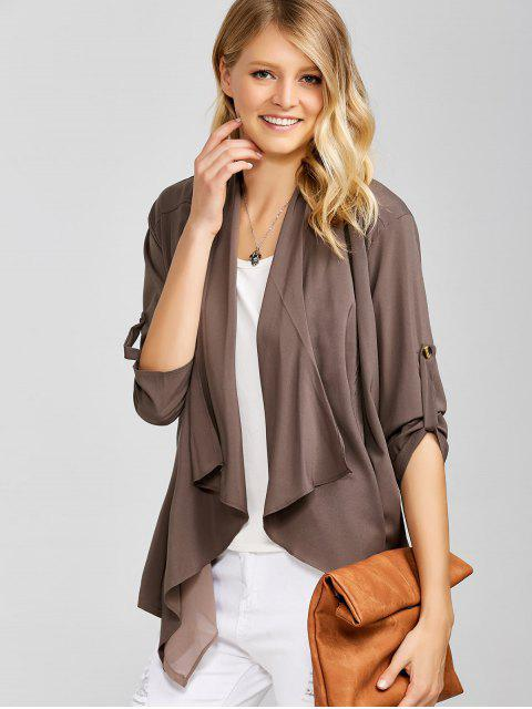 best Casual Asymmetric Duster Coat - BROWN ONE SIZE Mobile