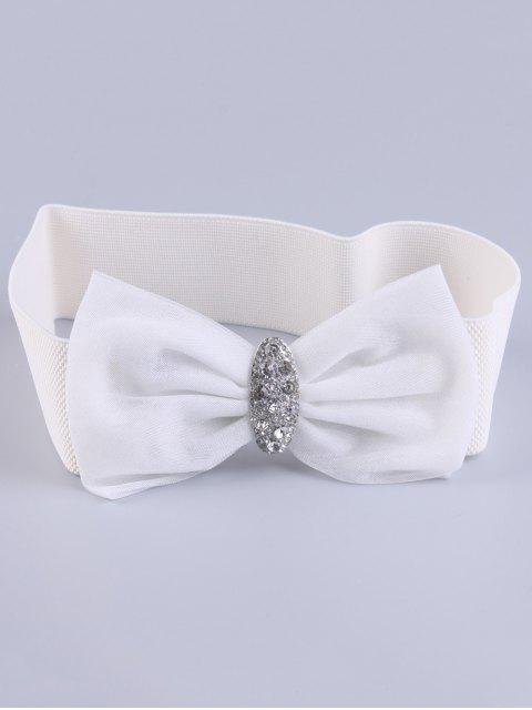 shops Bowknot Rhinestone Elastic Wide Belt - WHITE  Mobile
