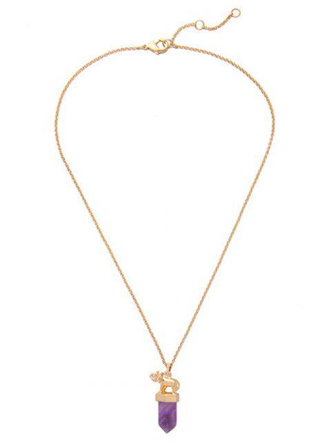 sale Faux Amethyst Bullet Elephant Necklace - GOLDEN  Mobile