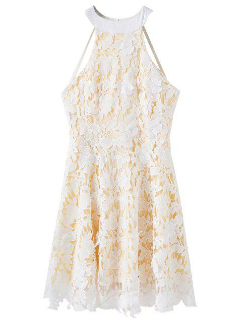 shop Floral Applique Lace Skater Dress - WHITE L Mobile