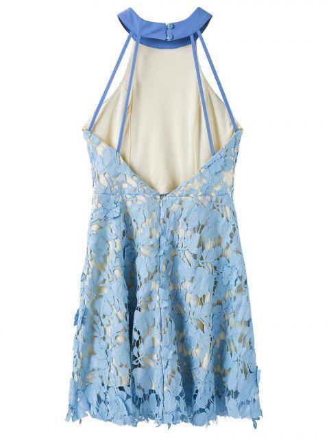 trendy Floral Applique Lace Skater Dress - BLUE L Mobile