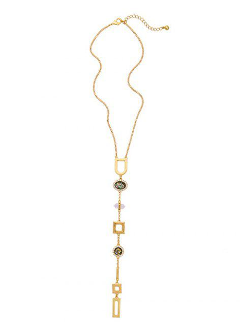 affordable Faux Gem Geometry Pendant Necklace - GOLDEN  Mobile
