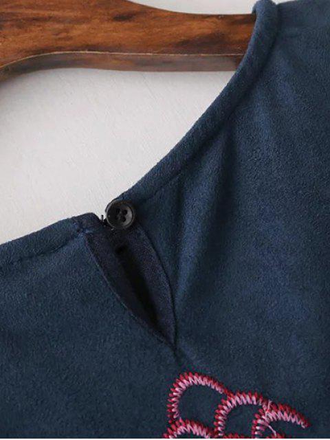 unique Faux Suede Embroidered Blouse - PURPLISH BLUE L Mobile
