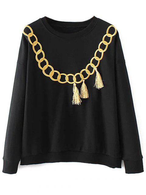 new Embroidered Fringed Sweatshirt - BLACK S Mobile