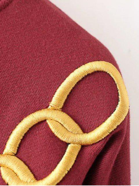 best Embroidered Fringed Sweatshirt - BLACK L Mobile