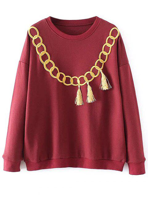 outfit Embroidered Fringed Sweatshirt - RED M Mobile
