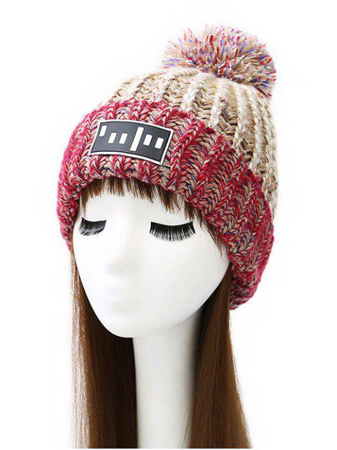 affordable Stripy Pom Ball Flanging Knitted Beanie -   Mobile