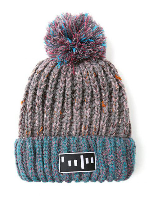 womens Stripy Pom Ball Flanging Knitted Beanie - GRAY  Mobile