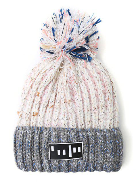 women Stripy Pom Ball Flanging Knitted Beanie -   Mobile