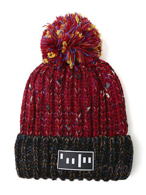 women's Stripy Pom Ball Flanging Knitted Beanie -   Mobile