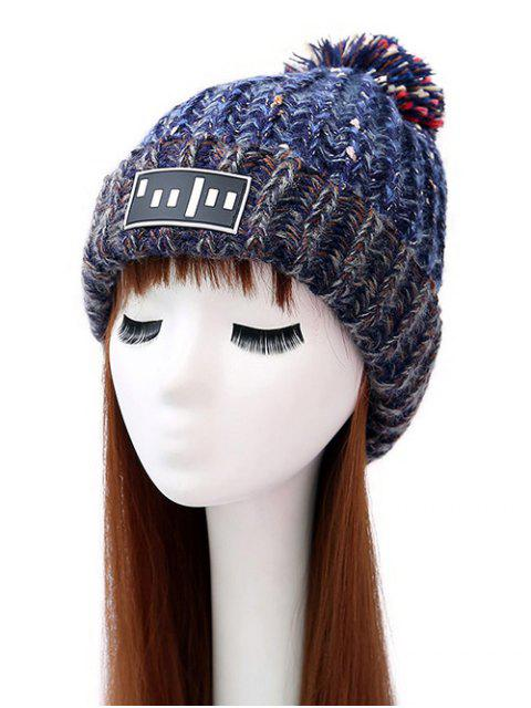 ladies Stripy Pom Ball Flanging Knitted Beanie - BLUE  Mobile