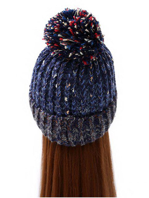 ladies Stripy Pom Ball Flanging Knitted Beanie -   Mobile
