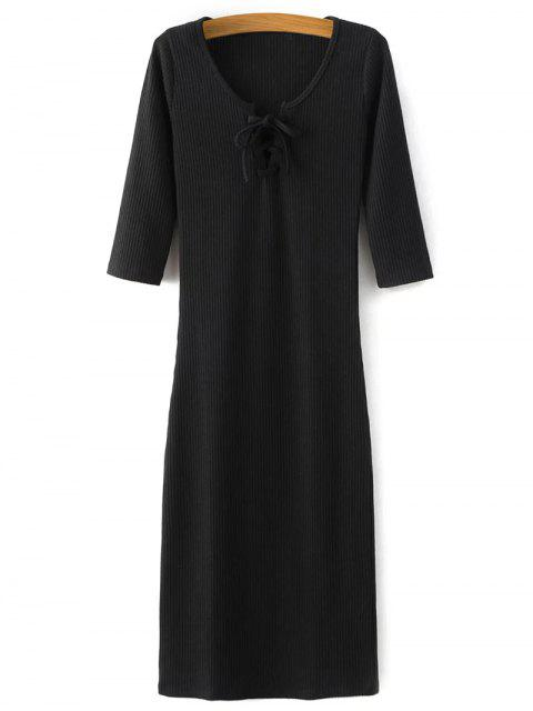 lady Lace-Up Knitting Dress - BLACK S Mobile