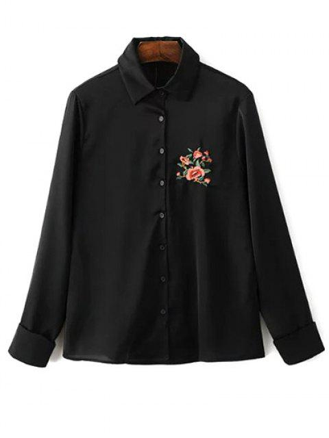womens Slimming Embroidered Shirt - BLACK M Mobile