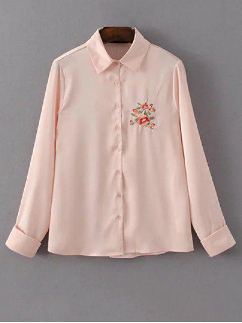 ladies Slimming Embroidered Shirt - PINK M Mobile