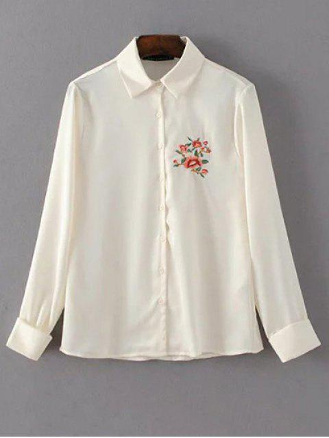 online Slimming Embroidered Shirt - OFF-WHITE M Mobile