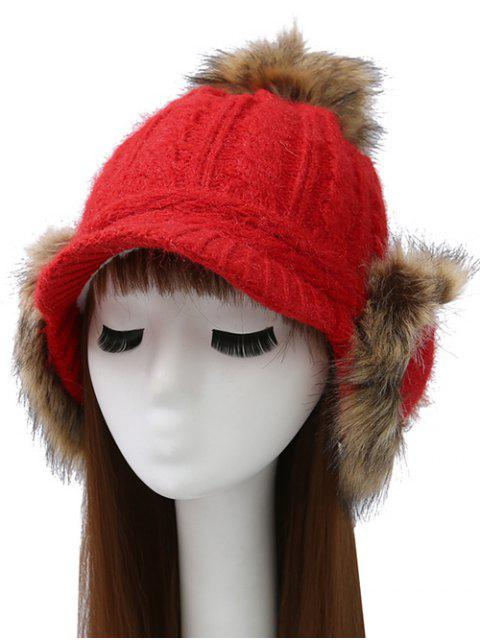 best Pom Ball Hemp Flowers Knitted Hat - BRIGHT RED  Mobile