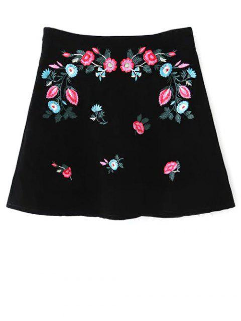 Étnico floral una línea de Falda - Negro M Mobile