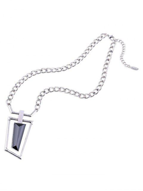 ladies Hollowed Geometry Faux Gem Necklace - SILVER  Mobile