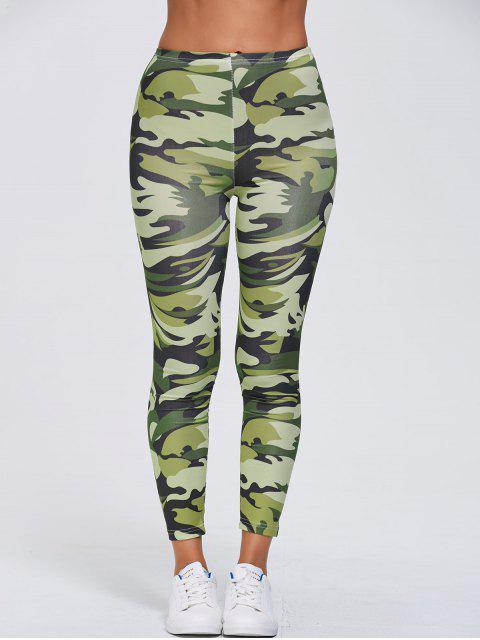ladies Stretchy Camo Print Sports Leggings - GREEN XL Mobile