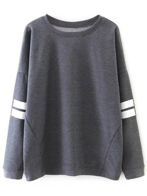 buy Striped Sports Sweatshirt - GRAY L Mobile