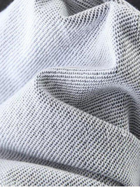 buy Striped Sports Sweatshirt - GRAY L Mobile