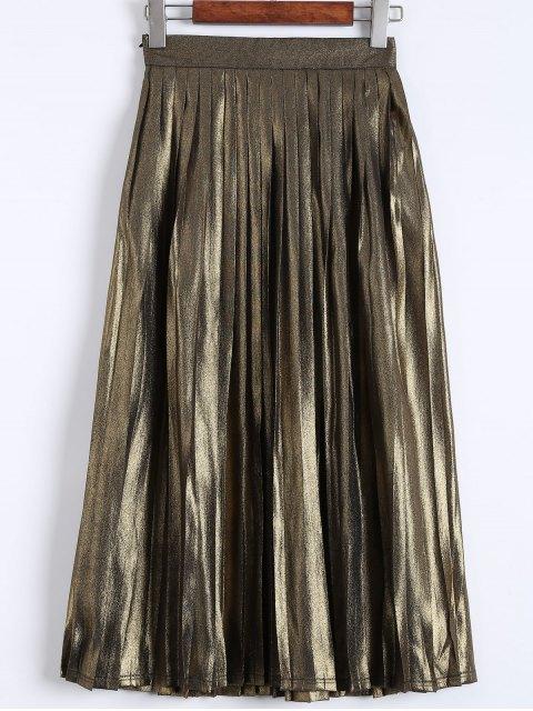 unique Pleated Metal Colour Tea Length Skirt - GOLDEN L Mobile