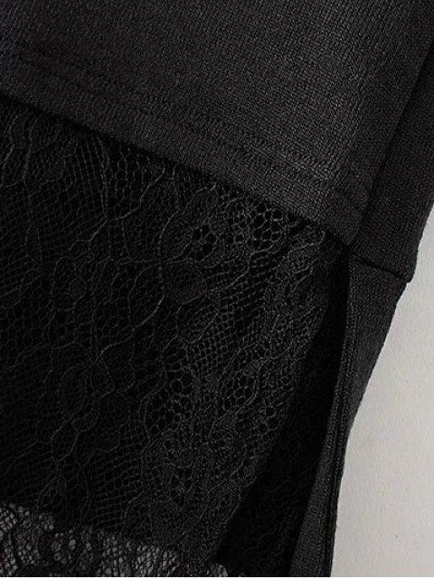 new Long Lace Panel Hoodie - BLACK S Mobile