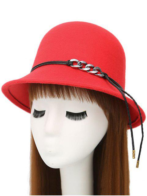 trendy PU Rope Dome Hat - RED  Mobile