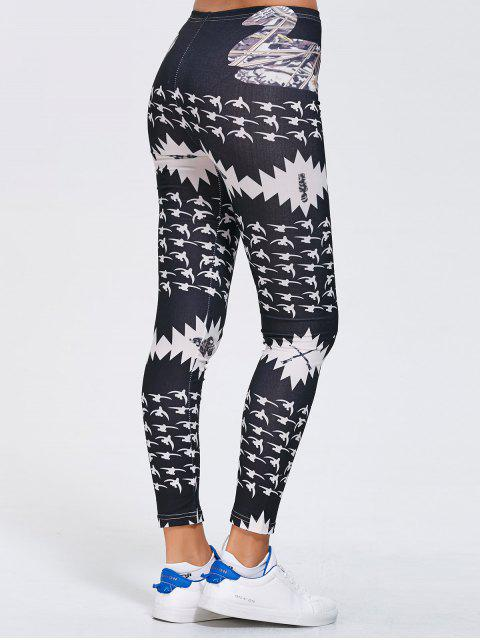 lady Stretchy Printed Sports Leggings - BLACK XL Mobile