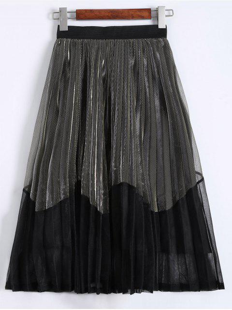 buy Pleated Color Block Tea Length Skirt - CHAMPAGNE GOLD ONE SIZE Mobile