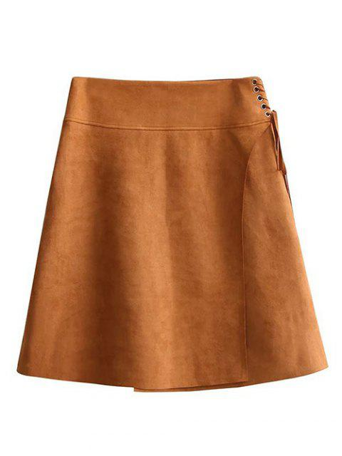 fancy Faux Suede A-Line Mini Skirt - BROWN M Mobile