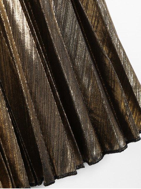 women Metallic Color Pleated Tea Length Skirt - GOLDEN M Mobile