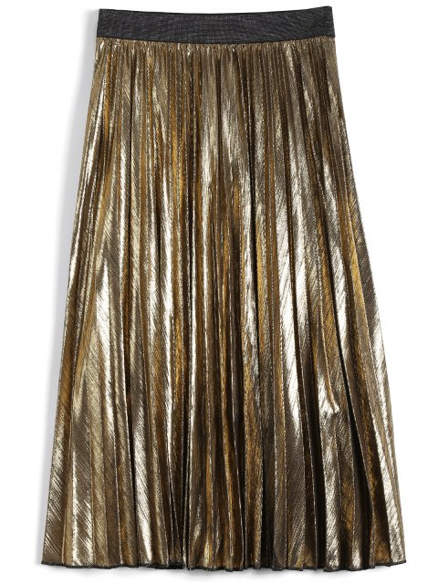 womens Metallic Color Pleated Tea Length Skirt - GOLDEN L Mobile