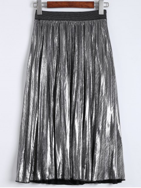 lady Metallic Color Pleated Tea Length Skirt - SILVER M Mobile