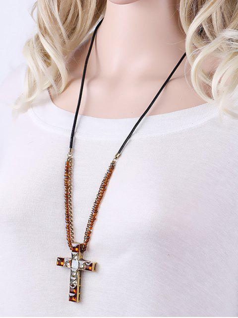 online Beads Faux Crystal Cross Necklace - BROWN  Mobile
