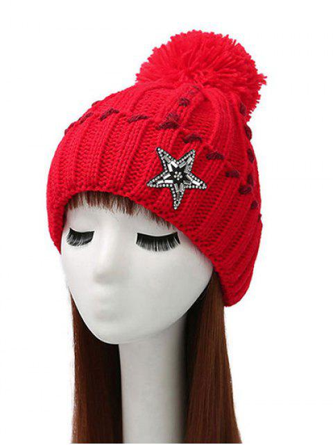 shop Pom Ball Star Rhinestone Beanie -   Mobile