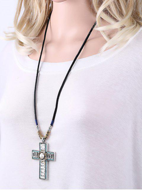 hot Faux Leather Rope Rhinestone Cross Necklace - BLACK  Mobile