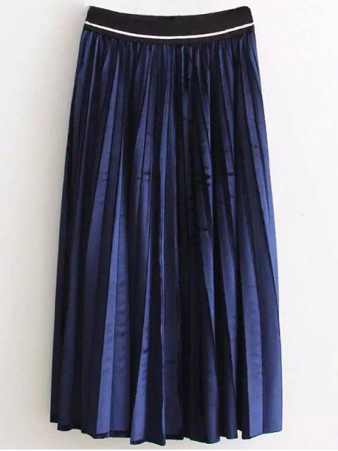 shops High Waist Pleated Velour Skirt - PURPLISH BLUE ONE SIZE Mobile