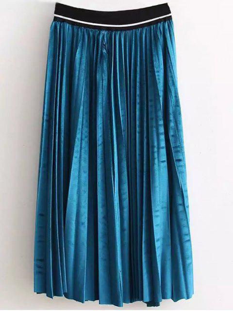 latest High Waist Pleated Velour Skirt - LAKE BLUE ONE SIZE Mobile