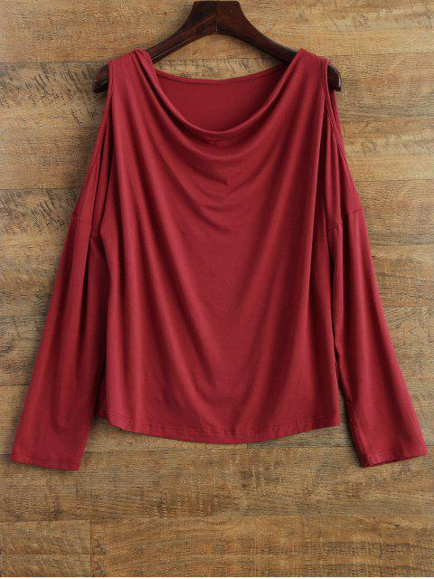 new Long Sleeves Cut Out T-Shirt - RED XL Mobile