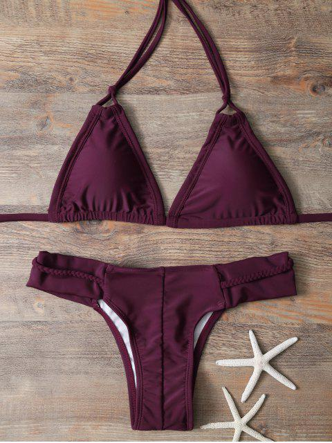 lady Halter Braided Rope Padded Bikini - WINE RED L Mobile