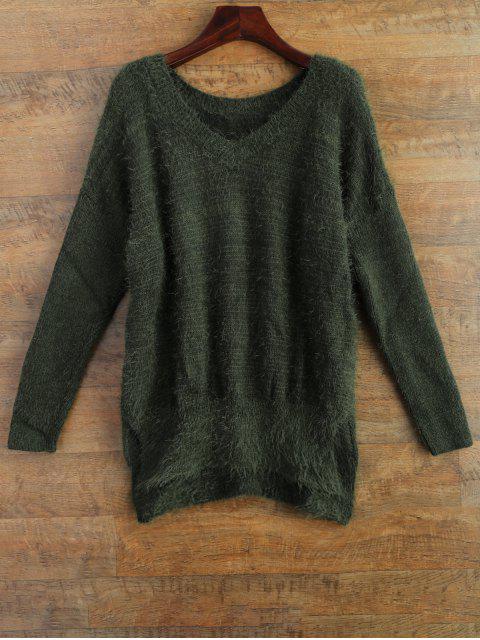 Flauschiger Pullover - Grün M Mobile
