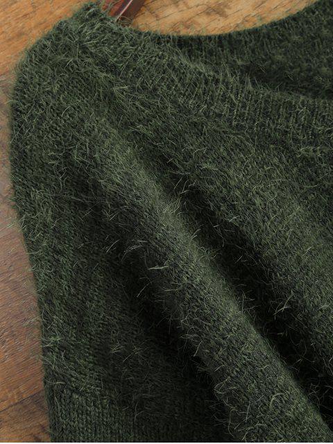 shop Fluffy Basic Sweater - GREEN XL Mobile
