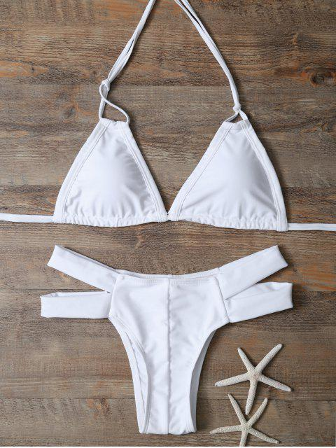 hot Halter Cut Out Padded Bikini - WHITE M Mobile