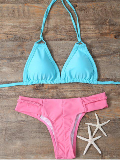 unique Padded Braided Mix Match Bikini Set - LAKE GREEN S Mobile